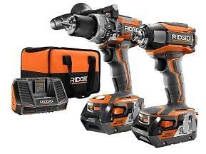 RIDGID 18-Volt Lithium-Ion Cordless Brushless Hammer Drill and Impact Driver 2-Tool Combo Kit with (2) 4.0Ah Batteries, Charger-R9205