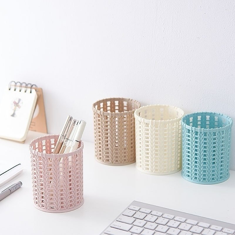 US $1.36 23% OFF|Creative Rattan Plastic Pen Holder Multi Functional Hollow Boxes Desktop Office Stationery Bucket Pencil Container Case| | - AliExpress