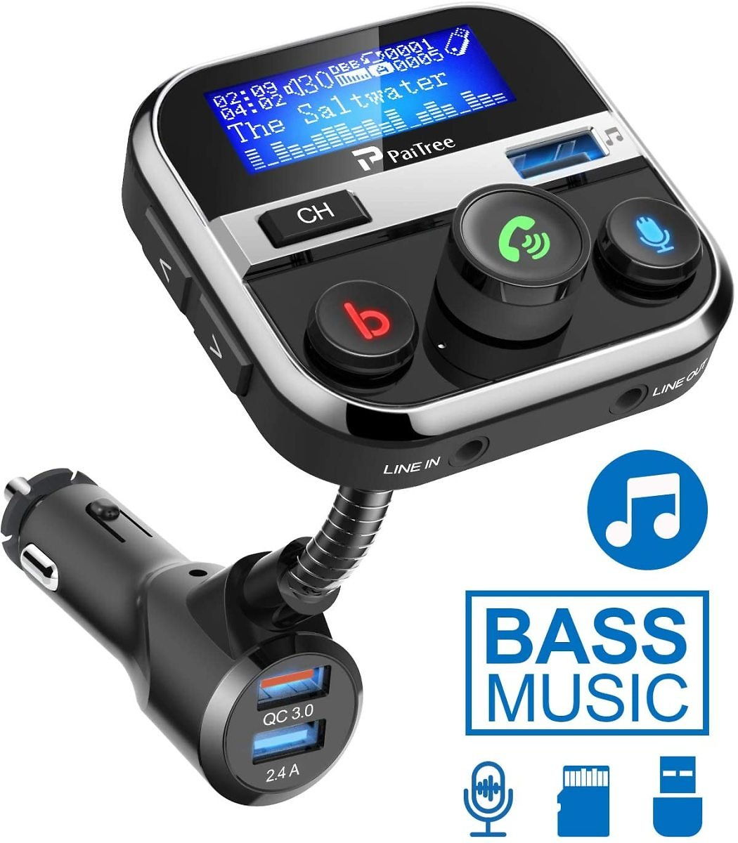 Roll Over Image to Zoom in Bluetooth FM Transmitter for Car, PaiTree Car Adapter with Super Bass Stereo Sound, QC3.0 Fast Charg