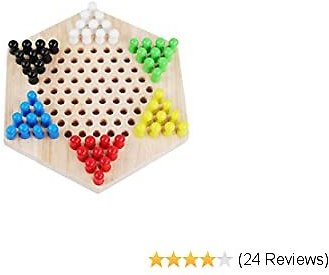 QZM Chinese Checkers Board Game Chess Wooden Materials Includes 60 Wooden Marbles in 6 Colors for 4 Years and UP Ages Classic Strategy Game for Multiple Players