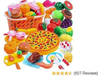 DigHeath 35pcs Pretend Play Food Set,Kitchen Cutting Toys,BPA Free Plastic Fruits & Vegetables for Kids with Realistic Basket,Knife and Chopping Board,Best Children Educational Play Set