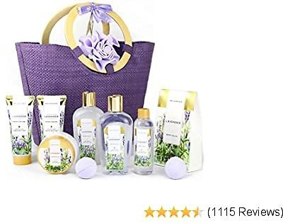 Spa Luxetique Spa Gift Baskets for Women, Lavender Bath Gift Basket, Bath Gifts for Women, Luxury 10 Pcs Home Bath Set Includes Bath Bombs, Body Lotion, Bubble Bath. Best Gift Set for Women or Men.