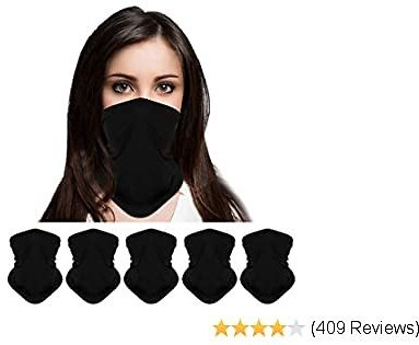 5-Pack Bandanas Neck Gaiter Scarf Face Protection Magic Scarf Headwear ,Dust Mask, Face Scarf Mask Black