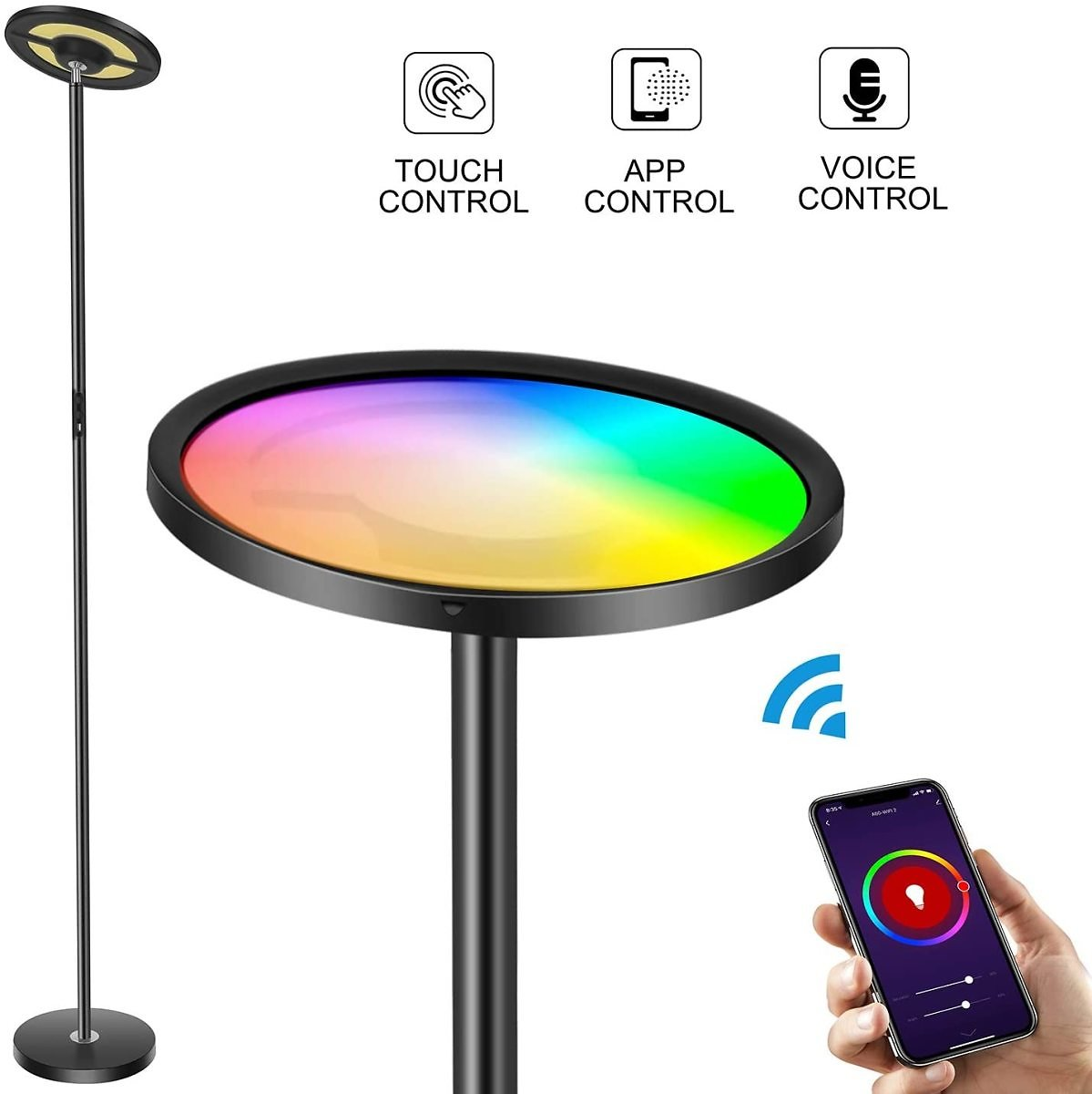 Wixann Smart Led Floor Lamp - WiFi Torchiere Floor Lamp Work with Alexa Google Home, 2000LM Super Bright Dimmable Color Changing