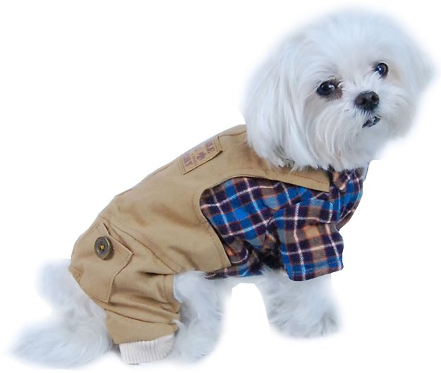 Plaid Top with Denim Overalls Puppy Dog Clothes Clothing Pet Outfit (One-Piece) Apparel (Gift for Pet)