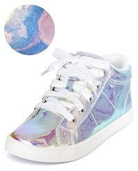 Girls Holographic Hi Top Sneakers