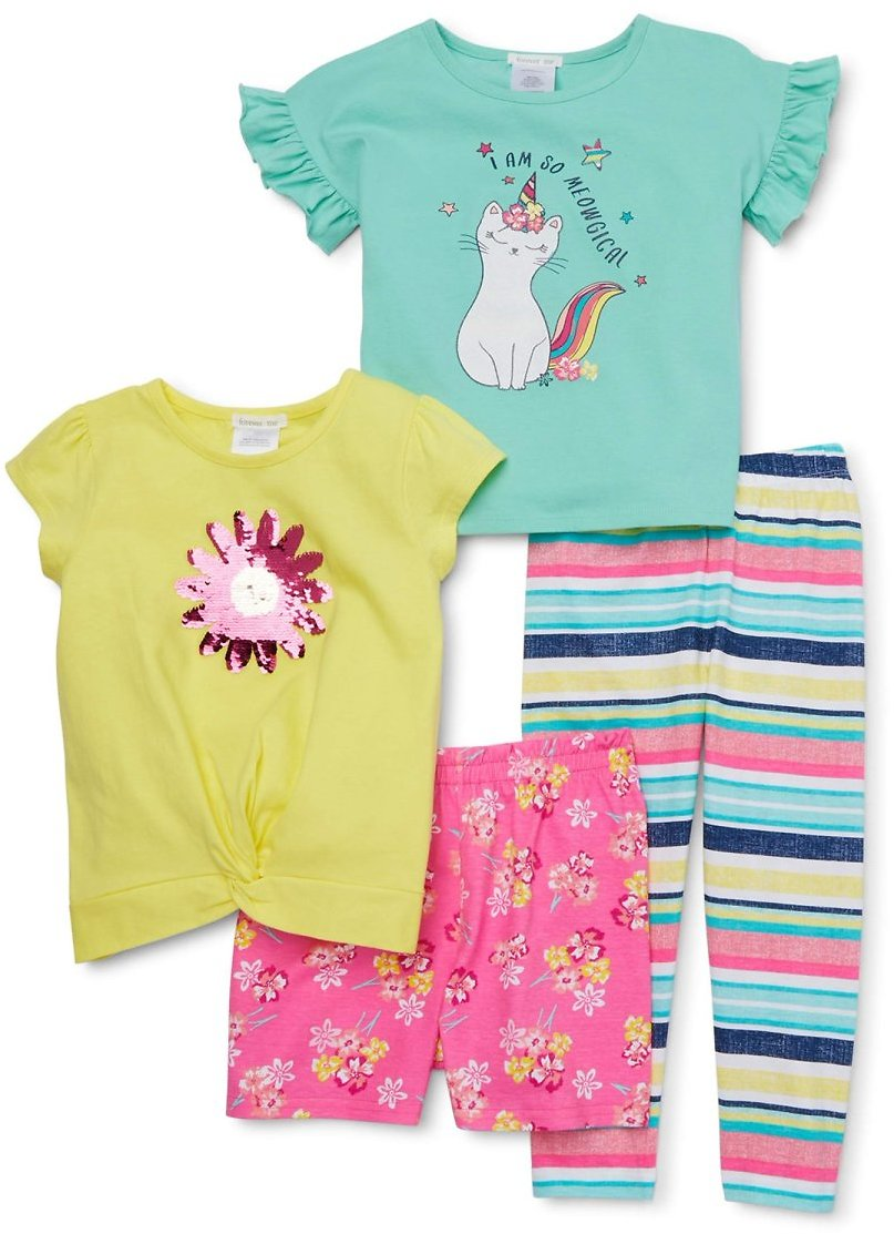 Forever Me Girls 4-12 Flip Sequin Tie Front Tee, Flutter Sleeve Top, Short and Printed Leggings, Mix And Match 4-Piece Outfit Se