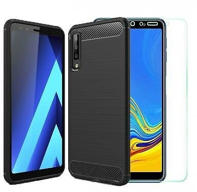 For Samsung Galaxy A7 (2018) Case Carbon Cover & Glass Screen Protector (A750)