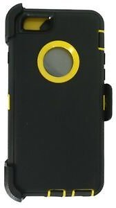 Black Yellow For Apple IPhone 6S Plus Defender Case W/Belt Clip Fits Otterbox