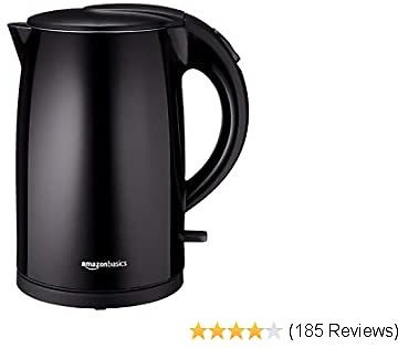 AmazonBasics Double-Walled Stainless Steel Electric Kettle - 1.7 Liter