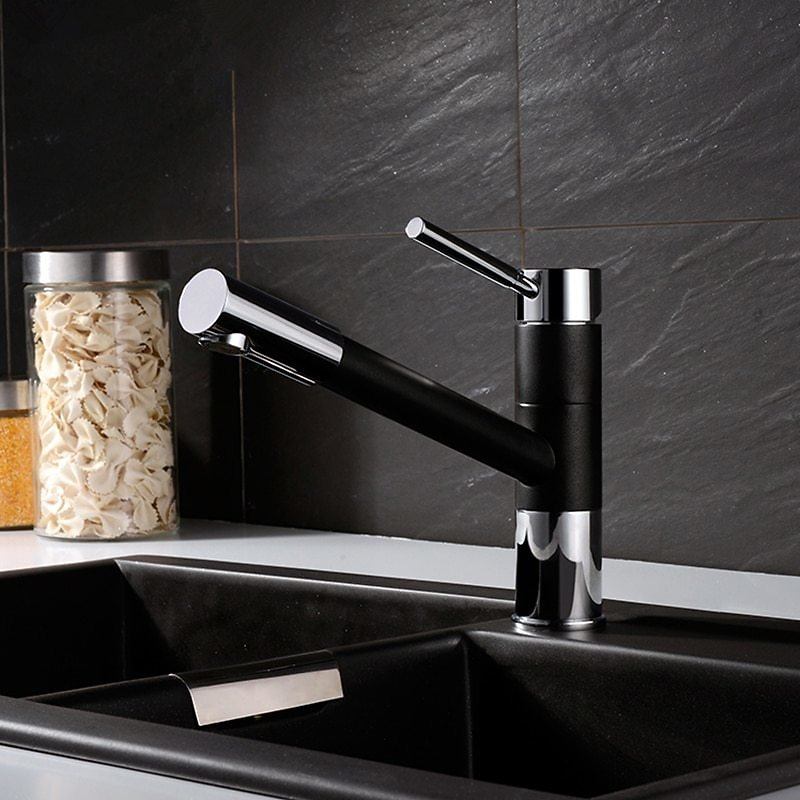 Brass Pull Out Kitchen Faucet Black 360° Rotation Single Handle Deck Mounted Kitchen Hot and Cold Water Sink Taps Kitchen Faucet