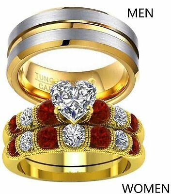 Couple Rings Tungsten Mens Band Yellow Gold Filled Heart CZ Womens Wedding Ring