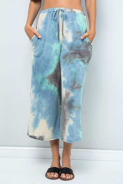 Multi-color Cropped Wide-Leg Pants