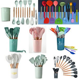 12Pcs Wooden Non Stick Silicone Cooking Utensil Set Kitchen Spatula Spoons Tools