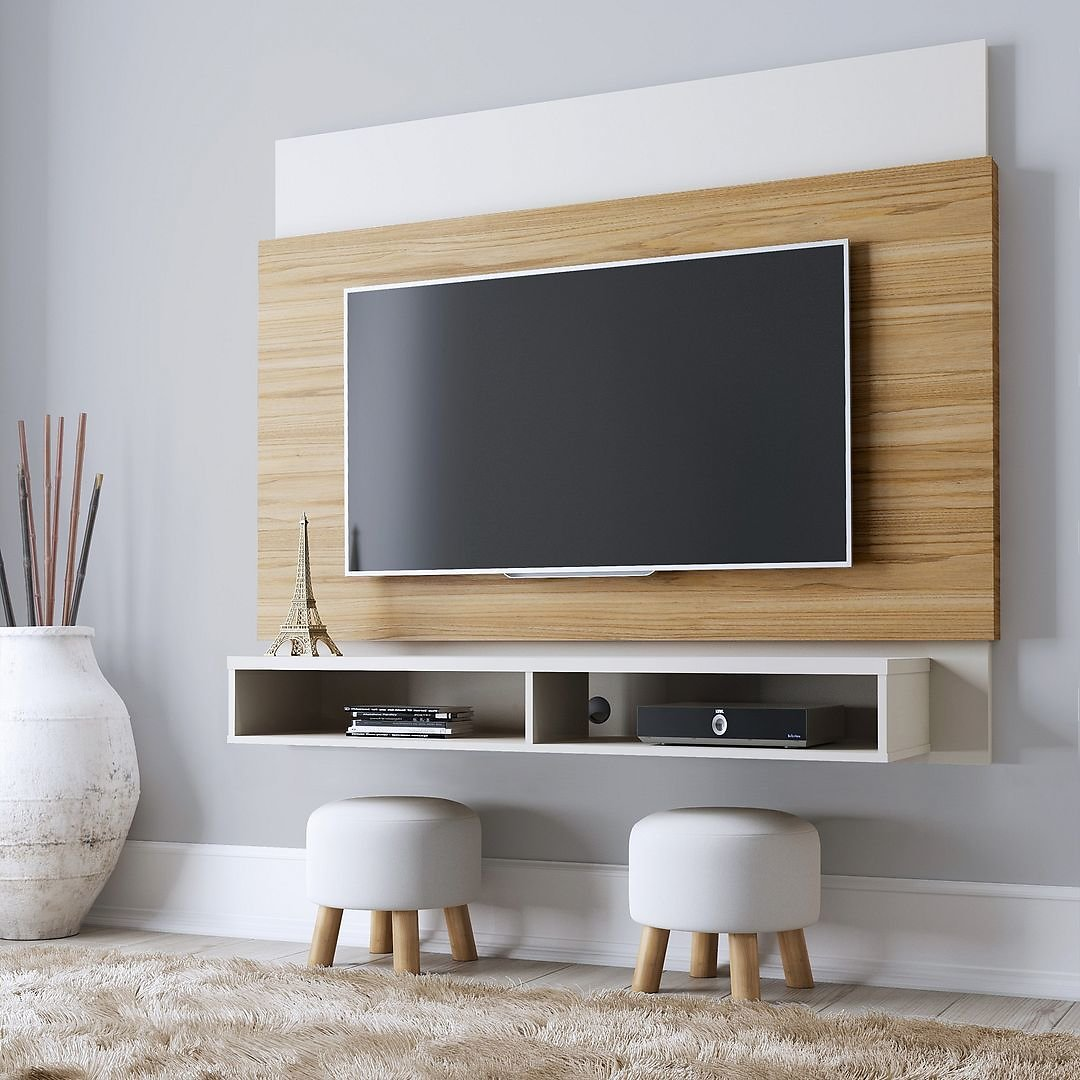Manhattan Comfort Brill 62.99 Floating Entertainment Center with 2 Shelves in Cinnamon and Off White