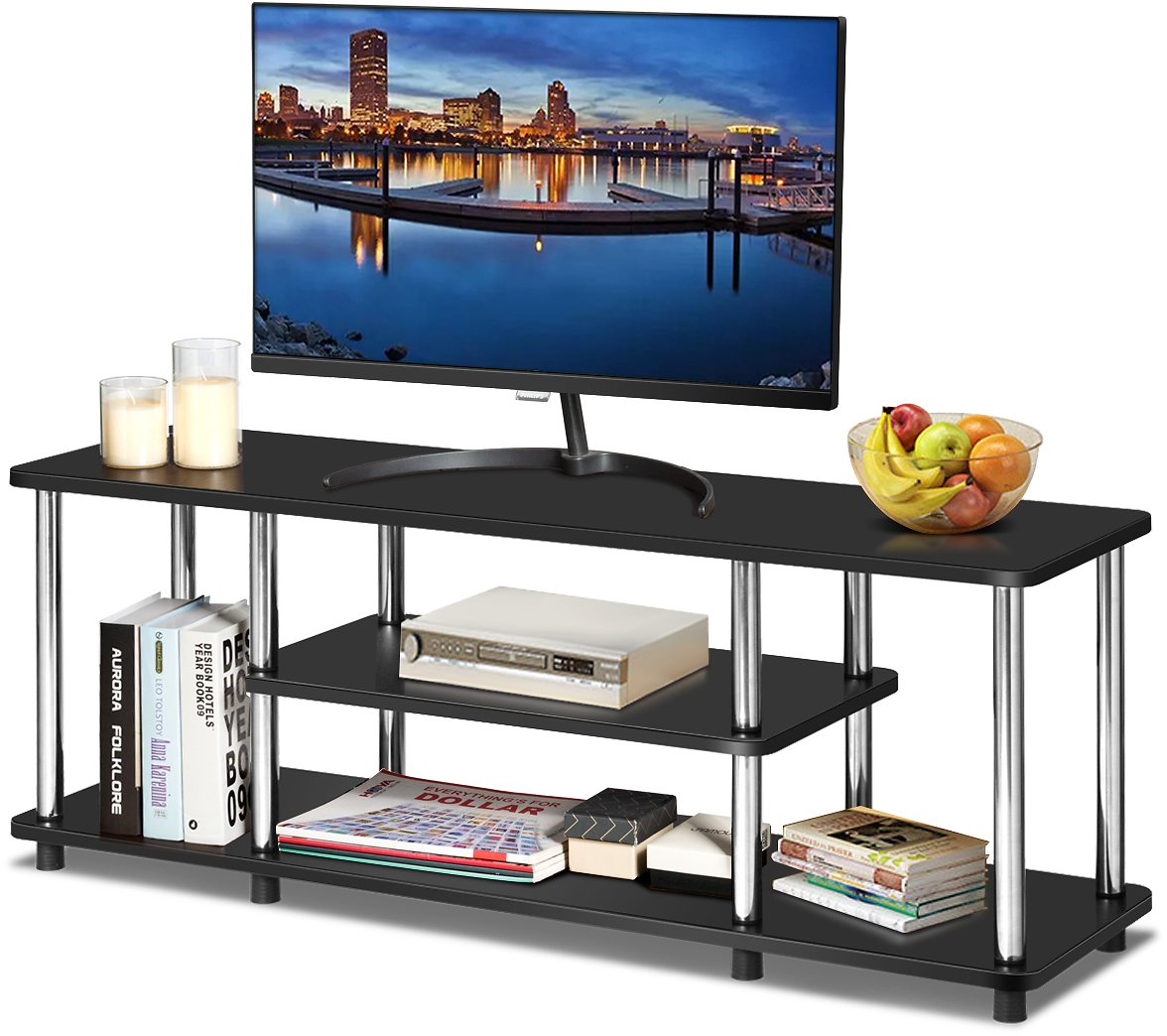 TV Stand Entertainment Center Stainless Steel Frame Black/Coffee