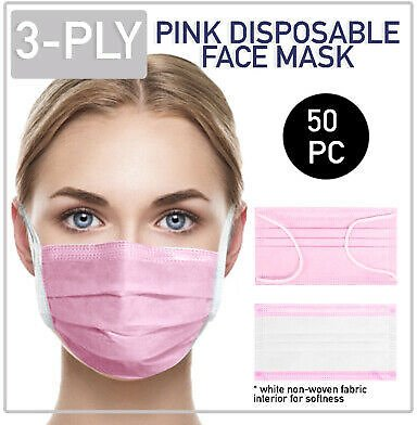 Disposable Pink Face Mask 50 PCS 3-Ply Medical Surgical Ear-Loop Mouth Cover