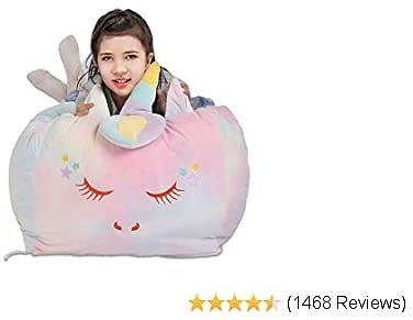 Colorful Unicorn Stuffed Toy Storage Bag Bean Bag Chair Cover 18x18 Inch Velvet Extra Soft Stuffie Organizer Replace Toy Hammock for Kids Toys Blankets, Towels, Pillow & Clothes Household Supplie