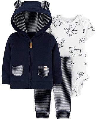 Carters Baby Boys Printed Bodysuit, Hoodie & Pants Set