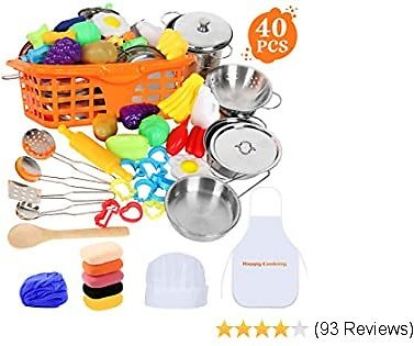 JoinJoy Pretend Play Toys, with Clay & Dough Set, Stainless Steel Cookware Pots and Pans Set, Cooking Utensils, Apron & Chef Hat and Vegetable Fruit, for Kids, Girls, Boys, Toddlers