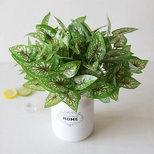 1Pc Simple Creative Simulation Plant Potted Green Leaf Engineering Green Leaf 7 Fork Red Pattern White Point Fairy Garden Office Living Room Study Decoration Green Plant 2020 - US $6.99