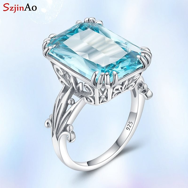 US $16.91 53% OFF|Szjinao Real 925 Sterling Silver Rings For Women 925 Aquamarine Sky Blue Topaz Gemstone Ring Fine Wedding Jewellery Gift|Rings| - AliExpress