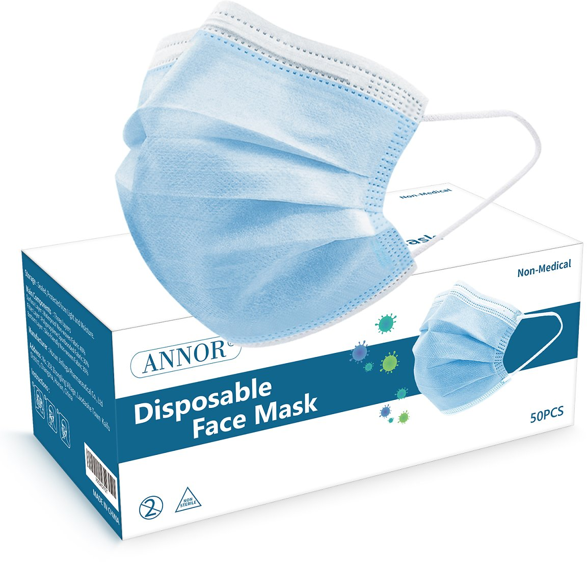 Disposable Face Masks Blue Pack of 50