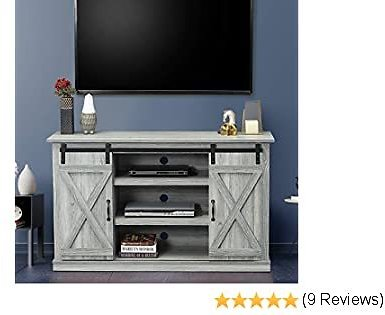 GOOD & GRACIOUS Farmhouse TV Stand with Sliding Barn Doors for Up to 65