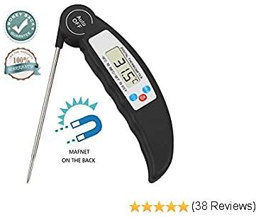 Meat Food Thermometer Instant Read 4.5S Ultra Fast Digital Cooking Thermometer with Calibration for Grilling BBQ Baking Candy Liquids Oil Oven Smoker Best Kitchen Thermometer Folding Probe (Black)