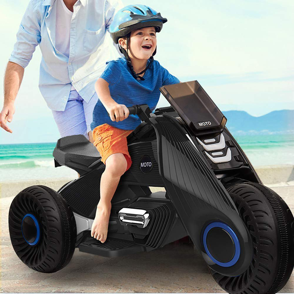 Kids Ride On Motorcycle,6V Battery Powered Electric Motorcycle 3 Wheels Double Drive Toy for 3-8 Years Old Children Boys & Girls