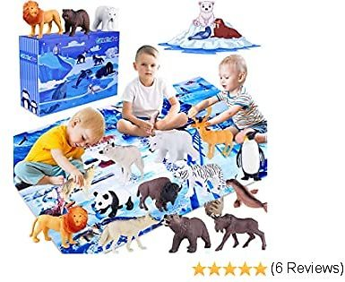 GiftInTheBox Polar Animal Figurines Toys with Large Activity Play Mat, Educational Realistic Animal Figures Toys Playset with Penguin, Panda, Wolf, Polar Bear, Gift for Kids, Toddler, Boys & Girls