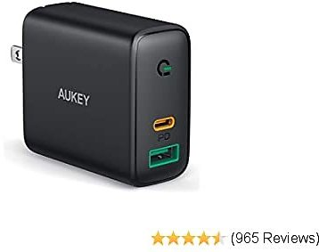 AUKEY USB C Charger 30W and 12W 2-Port Power Delivery 3.0 Fast Charger with Dynamic Detect, USB C Wall Charger Dual Port for IPhone 11 Pro Max, IPhone SE, Google Pixel 4 XL, MacBook Air, IPad Pro