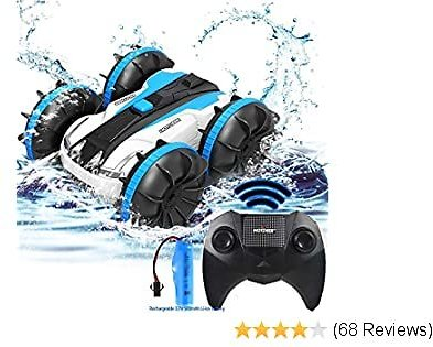Toys for 5-14 Years Old Boys RC Car/Boat for Kids 2.4 GHz Remote Control Vehicles Waterproof Truck Stunt Car 4WD Radio Controlled Crawler All Terrain Amphibious Beach/Bathtub Toy Girls Birthday Gift