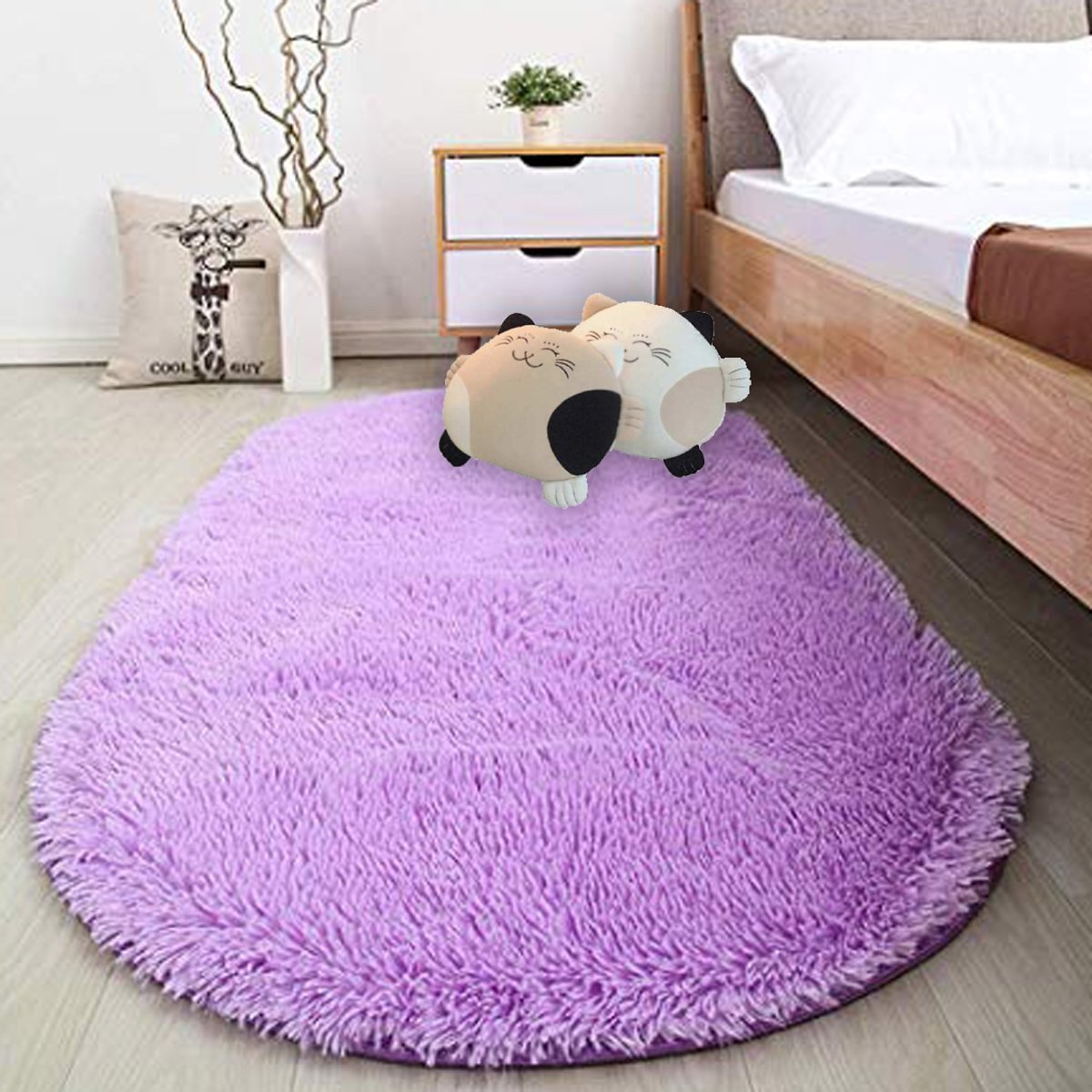 NK-HOME-31-4-x-64-9-inches-80-165cm-Fluffy-Area-Rugs-Bedroom-Oval-Shaggy-Floor-Carpet-Cute-Rug-Girls-