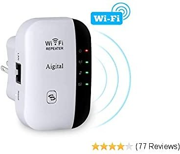 WiFi Range Extender, AIGITAL 300Mbps Wireless Internet Signal Booster Wi-Fi Repeater 2.4GHz Network Blast, Cover Longer Range and Eliminate WiFi Dead Spots High Compatibility | Upgraded Firmware