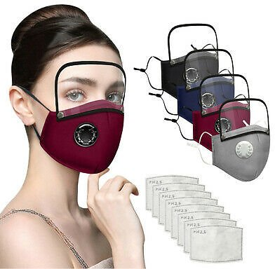 Adults Washable Reusable Face Mask With Filter And Detachable Eye Shield