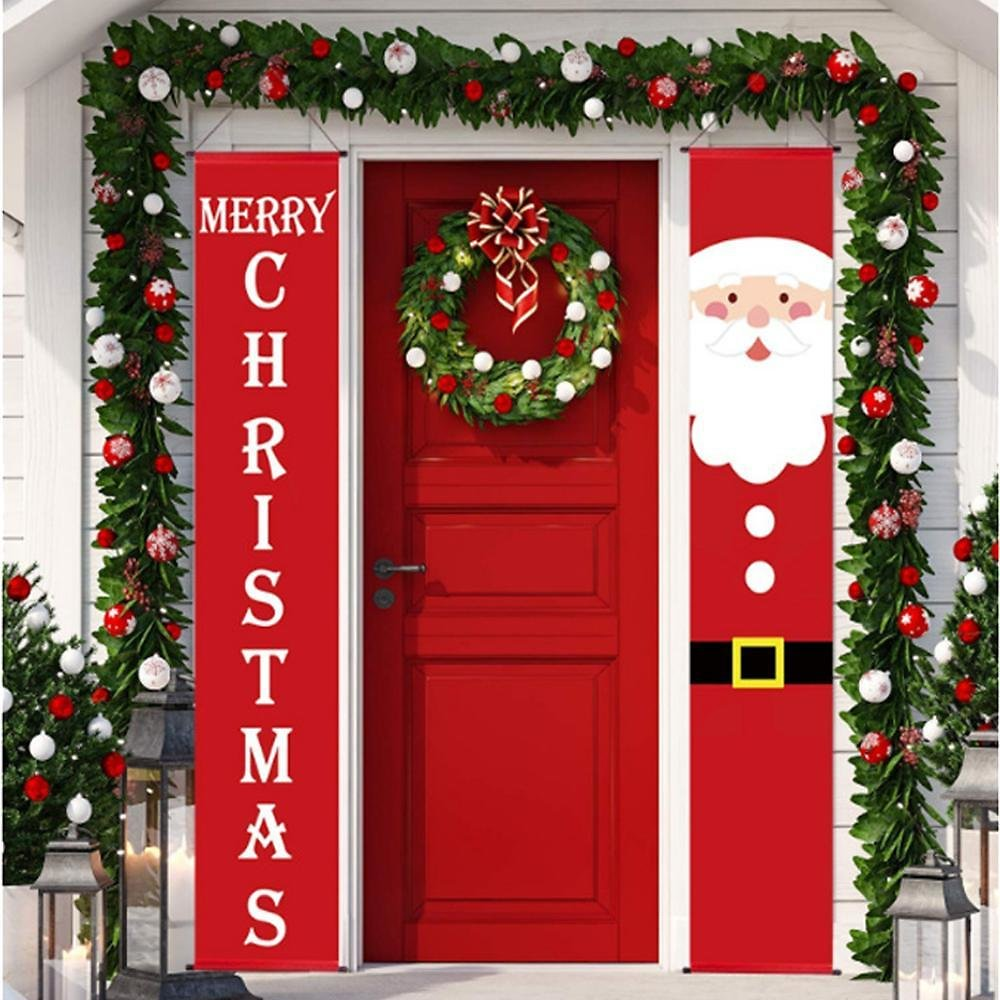 US $1.18 37% OFF|HUIRAN Welcome Merry Christmas Hanging Door Banner Ornaments Christmas Decorations for Home Outdoor Xmas Decor New Year Natal|Pendant & Drop Ornaments| - AliExpress