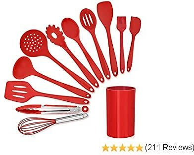 LIANYU 12-Piece Red Silicone Kitchen Cooking Utensils with Holder, Kitchen Tools Set Include Slotted Spatula Spoon Turner Ladle Tong Whisk, Dishwasher Safe