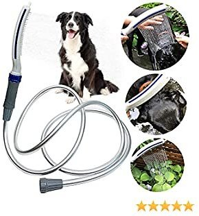Buyplus Dog Shower Sprayer Kit - 2 in 1 Pet Bathing Tool, Dog Shower Sprayer Head and Scrubber Set for Washing Grooming and Massage, 8ft Extra Long Hose