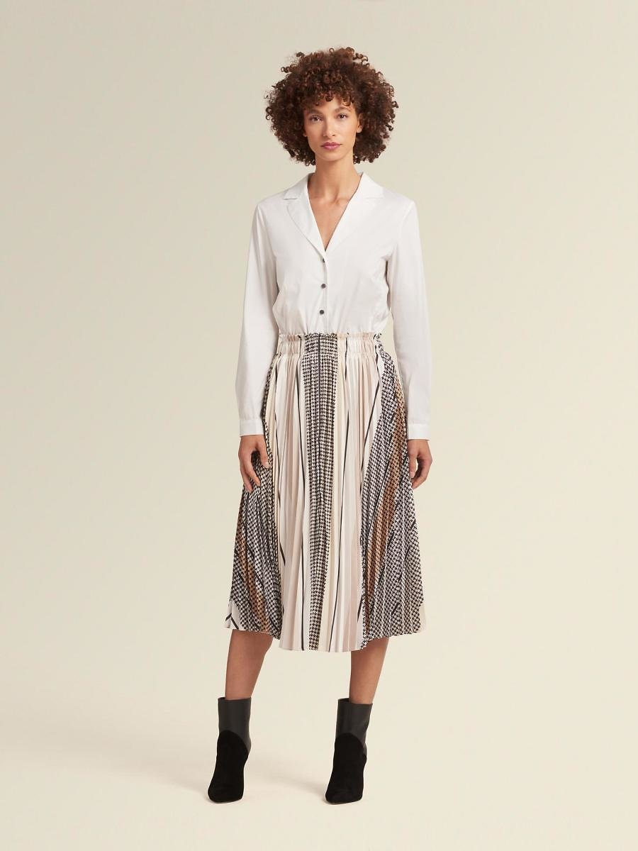 DKNY Shirtdress With Pleated Skirt-Dress Combo