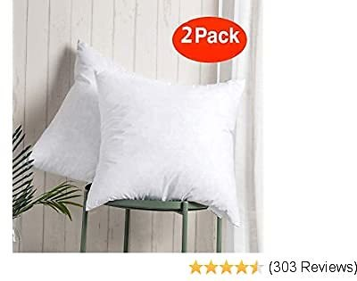 100% Cotton Throw Pillow Insert - Sham Stuffer Filled with Down and Feather for Firm Sleepers - Square Decorative Couch Pillows Used for Sofa and Bed, Set of 2, White, 20x20 Throw Pillows