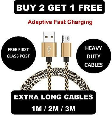 PowerBank Fast Cable Cord Short Micro USB Charger Android Samsung Various Phone