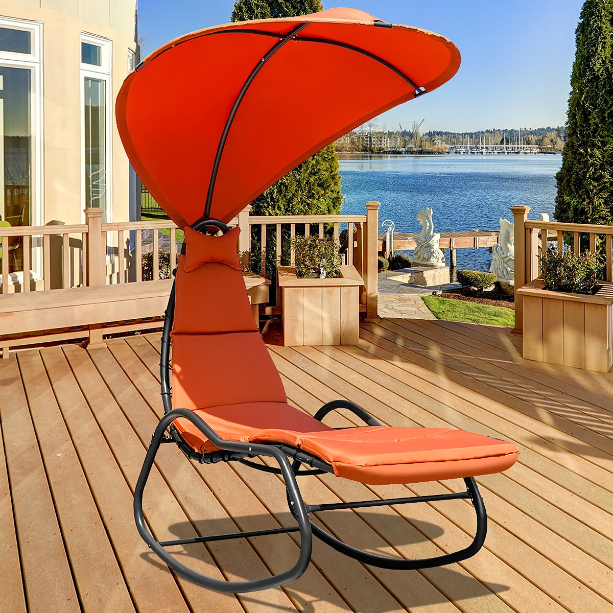 Costway Hanging Chaise Lounge Chair Swing Canopy Thick Cushion Beige\Turquoise\Orange