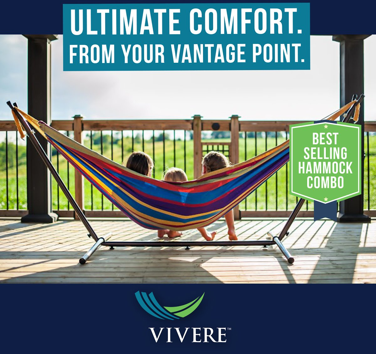 Vivere Double Hammock with Stand Combo, Tropical