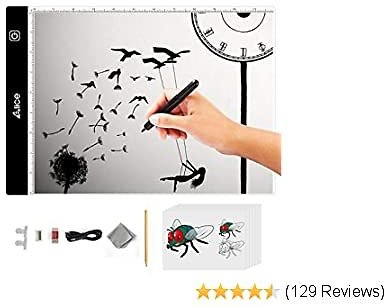 A4 Led Light Pad for Diamond Painting, ELICE Led Light Pad Artcraft Tracing Pad Light Box Ultra-Thin Dimmable Brightness Light Board for Artists Drawing Sketching Animation Stencilling, USB Powered