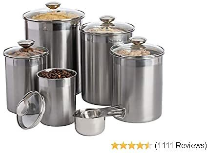 SilverOnyx Canisters Sets for The Kitchen Counter, 10-Piece Stainless Steel Canisters W/Glass Lids & Measuring Cups - Airtight Food Storage Containers for Tea Coffee Sugar Flour - 10pc Glass Lids