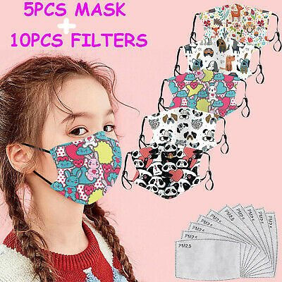 5PC Kids Youth Face Mask Reusable Washable Masks Cotton Cloth Fashion+10 Filters