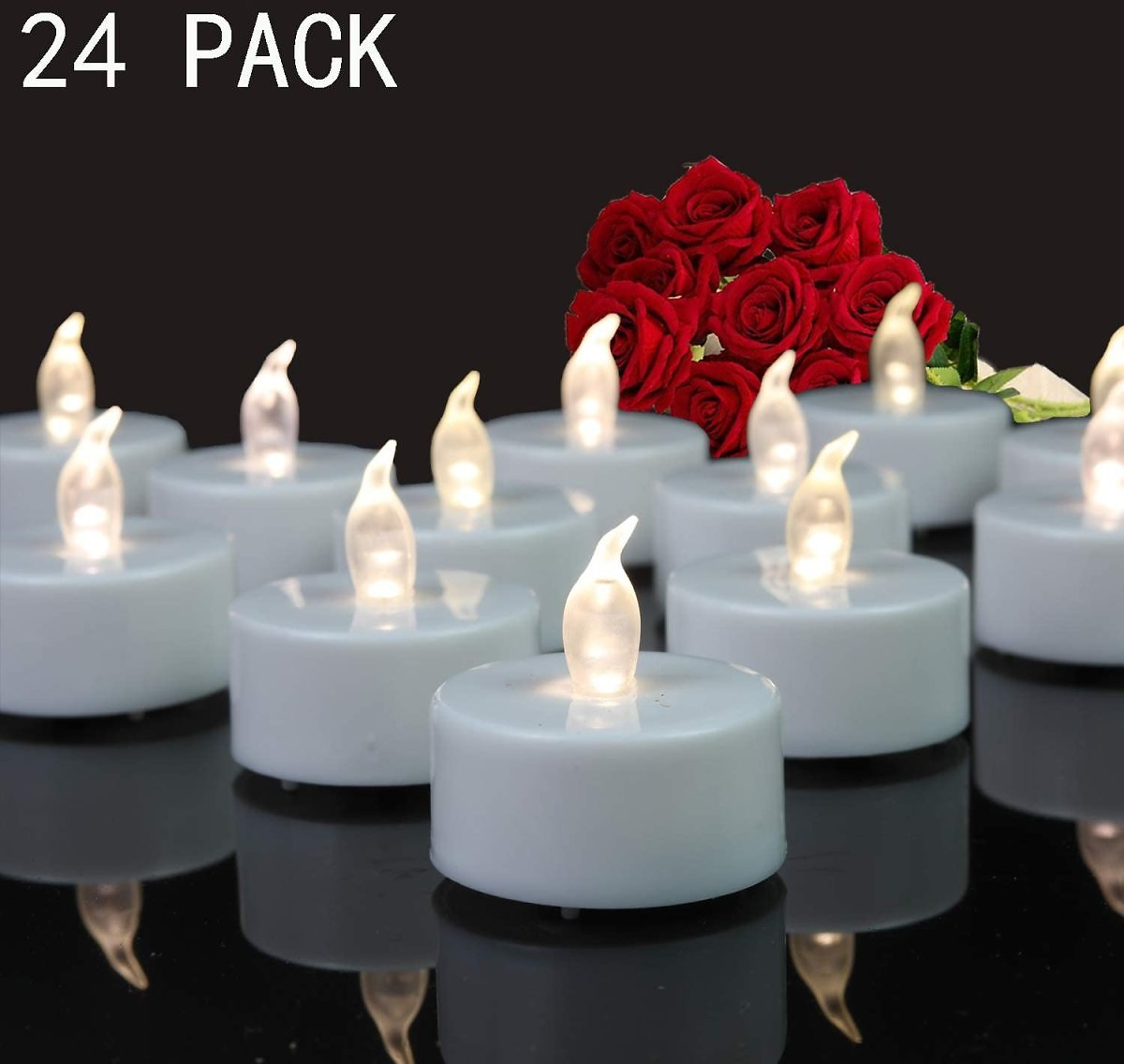Tappovaly Tea Lights, 24 Pack Flameless LED Candles Battery Operated Tea Lights Candles Long Lasting Tealight for Wedding Holida