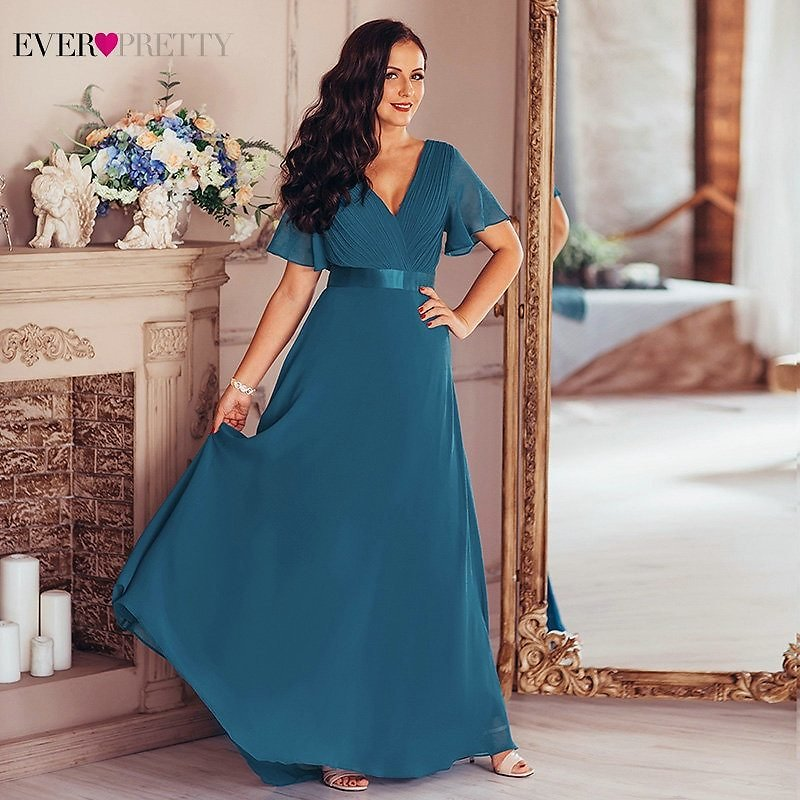US $27.49 50% OFF|Plus Size Evening Dresses Ever Pretty V Neck Nay Blue Elegant A Line Chiffon Long Party Gowns 2020 Short Sleeve Occasion Dresses|Evening Dresses| - AliExpress