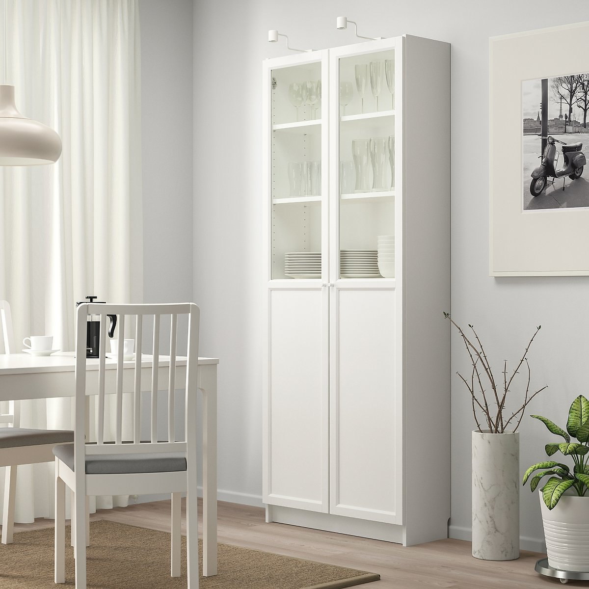 BILLY Bookcase with Panel/glass Doors, White31 1/2x11 3/4x79 1/2